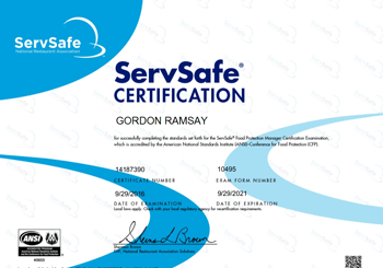 How long does ServSafe certification last?
